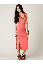 Rib and Lace Maxi Slip