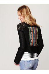 Embellished Vegan Leather Motorcycle Jacket