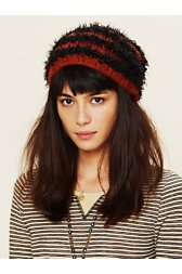 Feather Yarn Striped Beanie