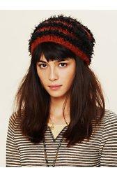 Feather Yarn Striped Beanie