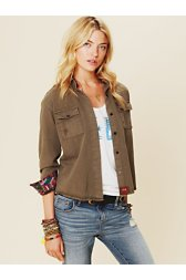 Olive Buttondown with Embroidery
