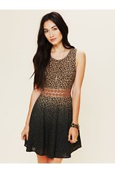 Leopard Daisy Fit and Flare Dress