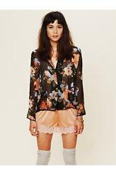 Sheer Floral Buttondown Top