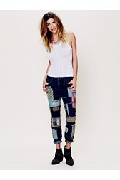 Patched Slim Slouch Jeans