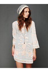 Embroidered Mesh Tunic Slip