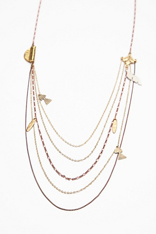 Free People Womens Multi Charm Rosary