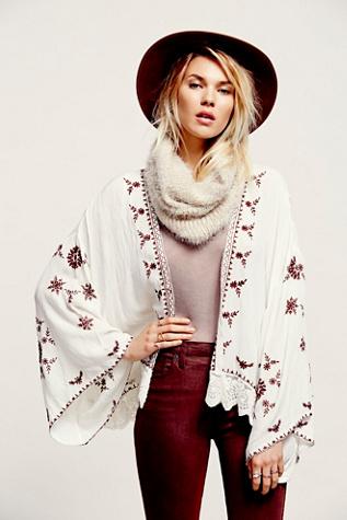 Free People Womens Embroidered Kimono Jacket