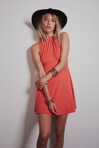 Free People Womens Miss Mod Mini Dress