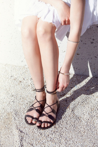 Faryl Robin + Free People Womens Vegan Tie Up Sandal
