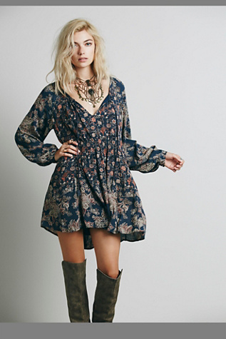 Free People Womens Lucky Loosey Shapeless Dress