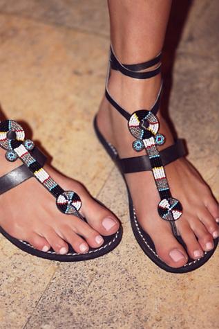 Laid Back London Womens Henley Beaded Sandal