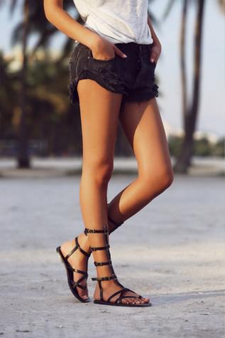 faryl robin + Free People Womens Vegan Noveau Mid Gladiator Sandals