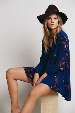 Free People Womens Electric Orchid Print Swing Tunic