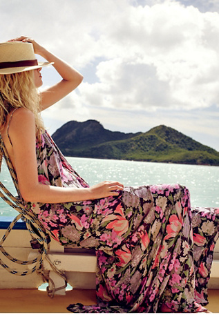 FP One Womens FP ONE Strappy Floral Maxi