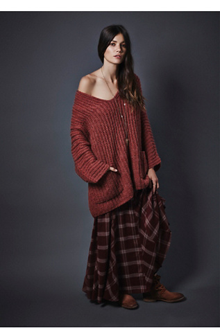 Free People Womens Mixed Plaid Maxi Skirt