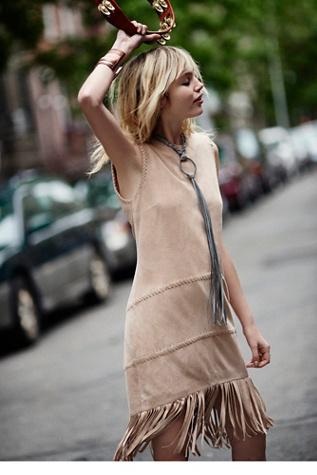 Womens Suede Shift Dress