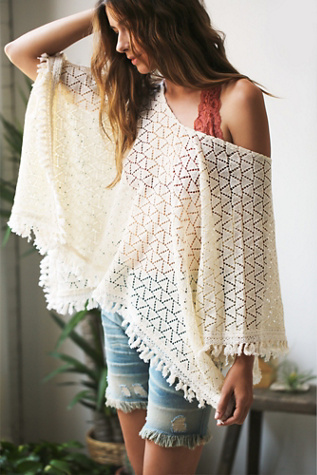 Free People Womens Everlasting Crochet Poncho