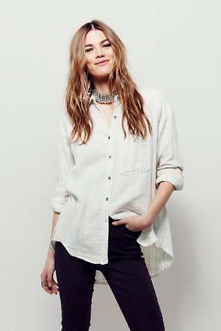 Free People Womens DOUBLE CLOTH INDIGO SHIRT