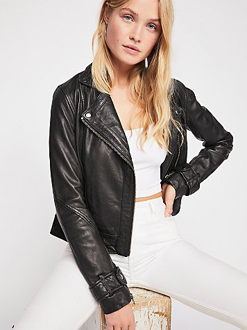 Washed Leather Moto Jacket by Free People