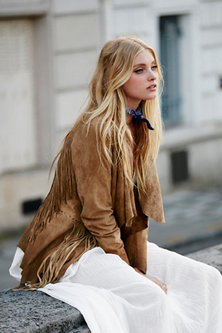Womens Fringe Suede Jacket