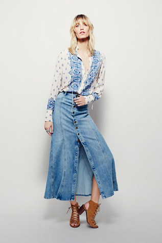Free People Womens Penelope Denim Maxi Skirt