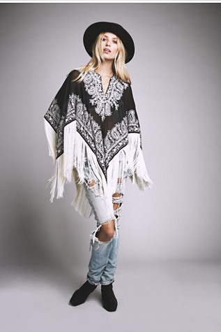 Tanja Pignatelli Womens Odyssey Embroidered Fringe Cape