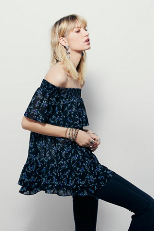 Free People Womens In The Light Printed Off The Shoulder