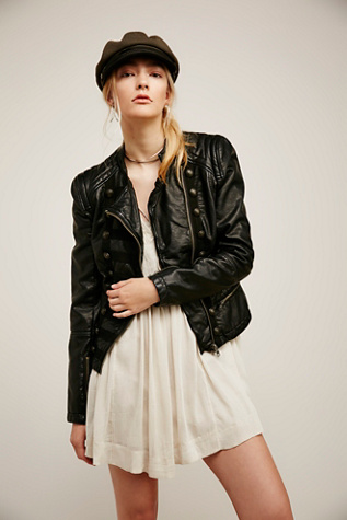 Womens VEGAN LEATHER BAND JACKET