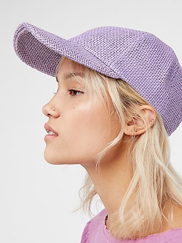 Sunlit Swells Straw Baseball Hat by Free People