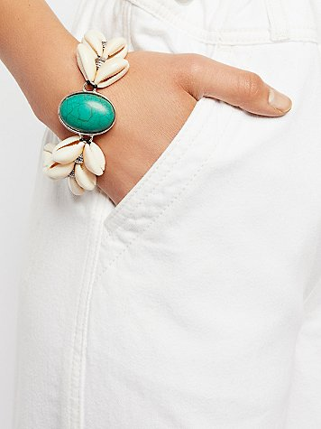 By The Sea Shell Turquoise Bracelet by Ouroboros at Free People