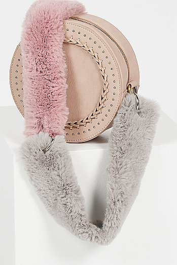Faux Fur Short Bag Strap