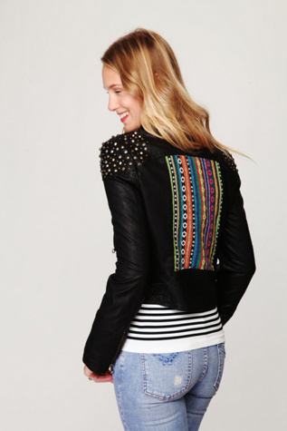 Embellished Vegan Leather Motorcycle Jacket Free People