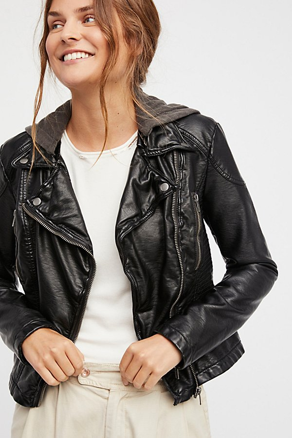 Vegan Leather Hooded Jacket | Free People