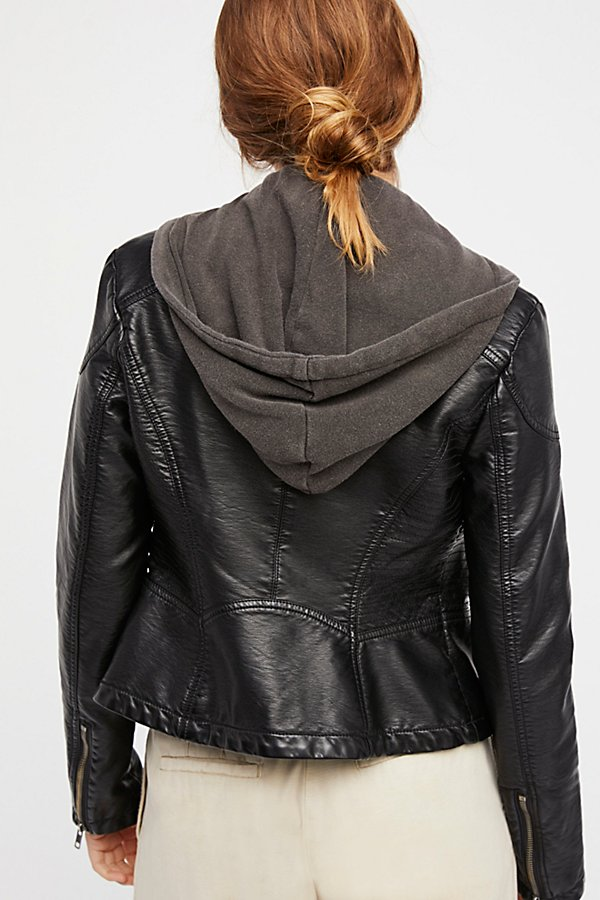 Slide View 3: Vegan Leather Hooded Jacket