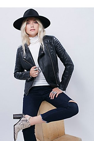 Vegan Leather Collarless Jacket | Free People