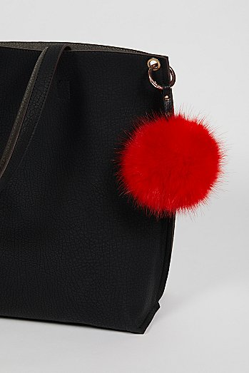 Faux Fur Pompom Bag Charm