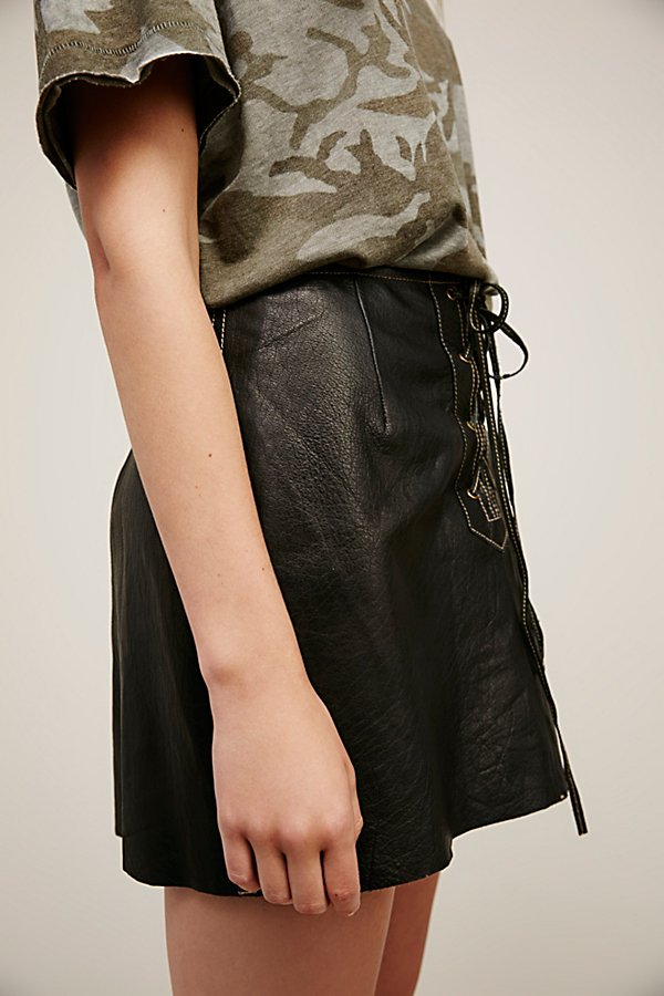 Slide View 4: Join Hands Leather Skirt