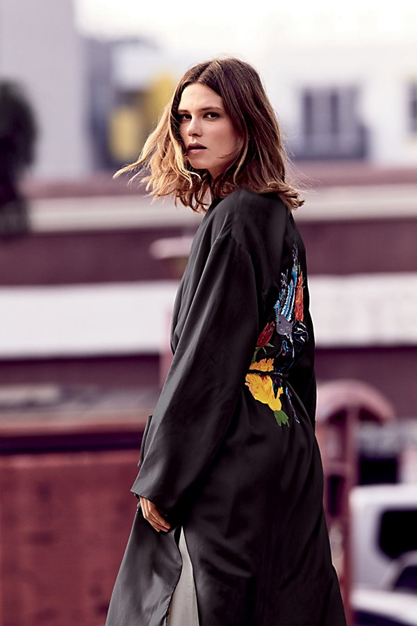 Slide View 1: Embroidered Slouchy Duster