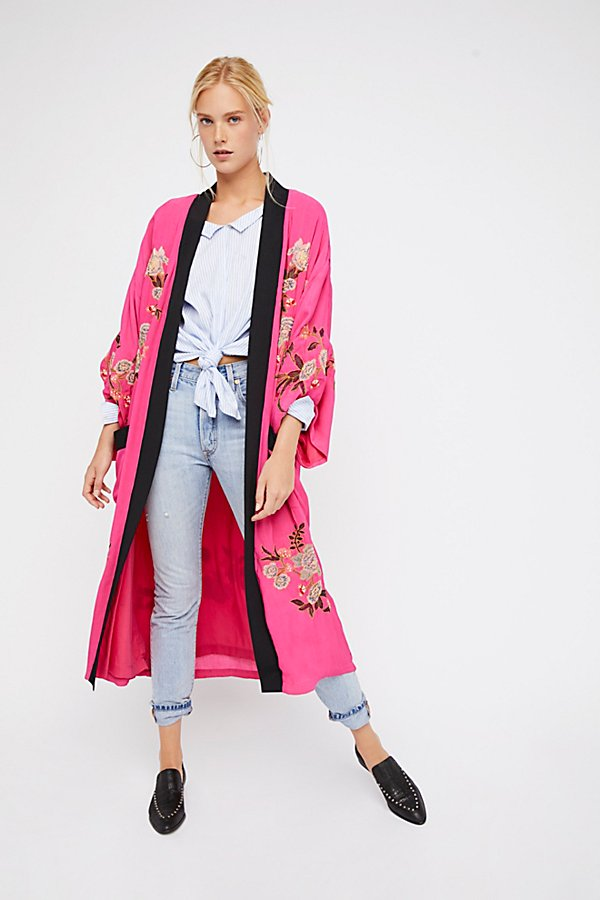 Slide View 1: Floral Embroidered Kimono
