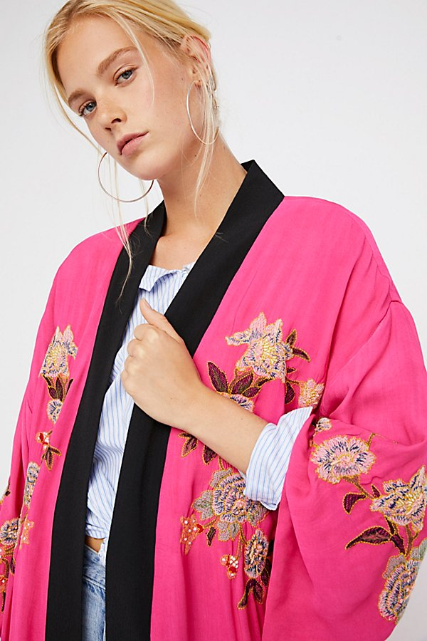 Slide View 3: Floral Embroidered Kimono