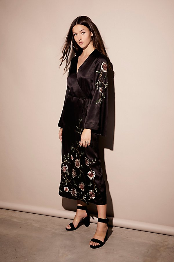 Slide View 1: Embroidered Wrap Kimono Dress