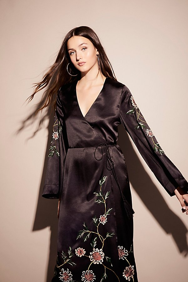 Slide View 3: Embroidered Wrap Kimono Dress