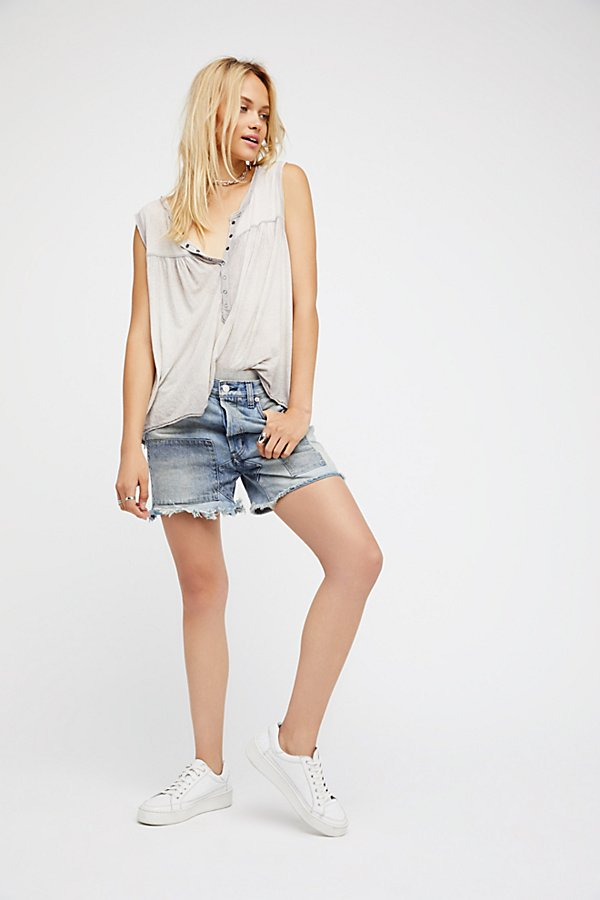 Slide View 1: Relaxed & Patched Denim Shorts