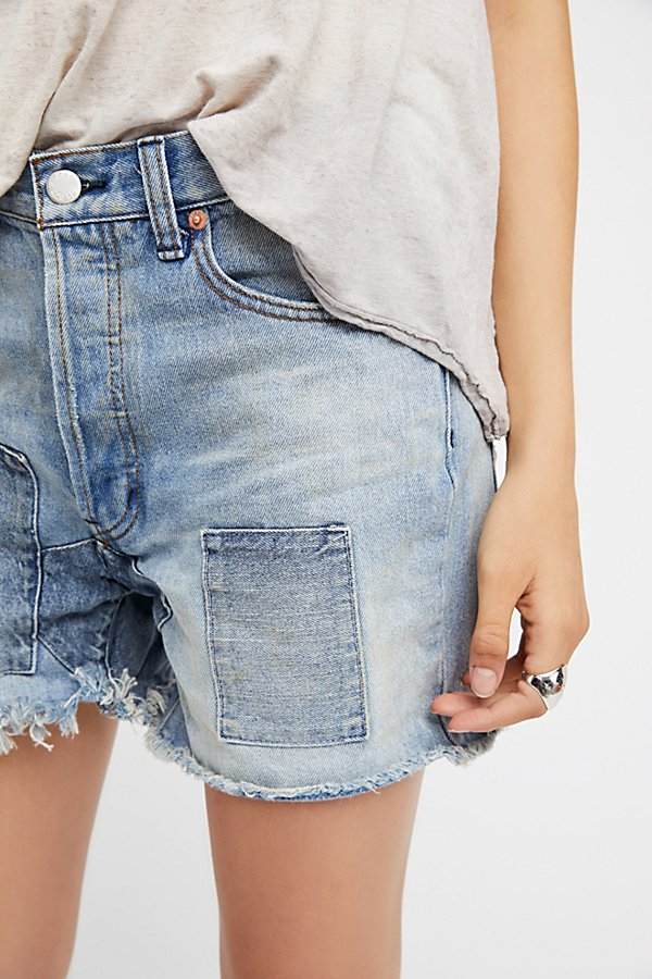 Slide View 4: Relaxed & Patched Denim Shorts
