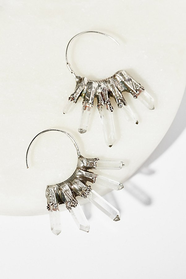 Slide View 2: Icicle Raw Quartz Hoops