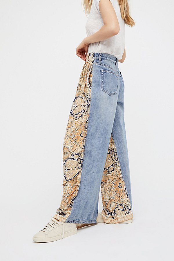 Slide View 2: Coming and Going Printed Wide Leg Jeans