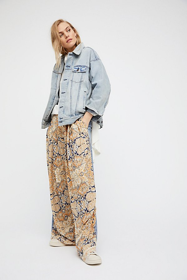 Slide View 3: Coming and Going Printed Wide Leg Jeans