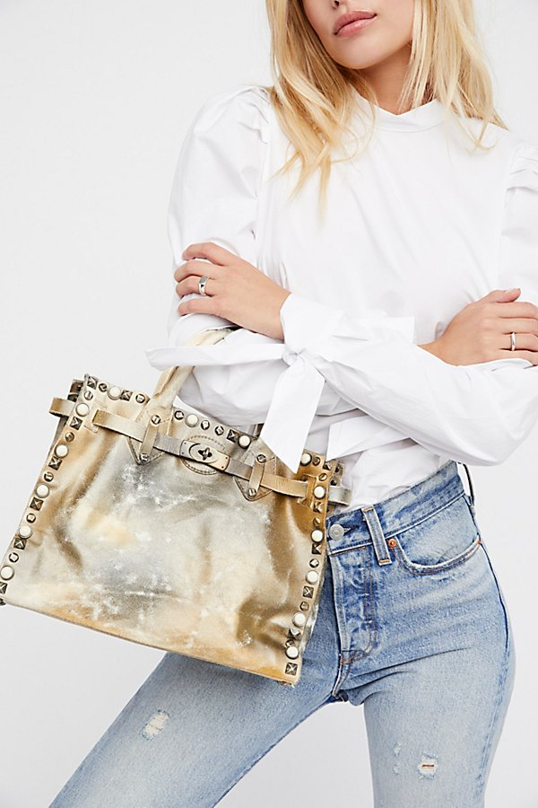 Slide View 1: Lila Distressed Leather Satchel