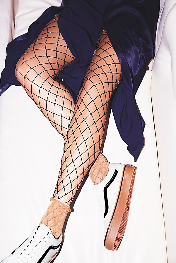 Slide View 1: Moonlight Lurex Fishnet Tights