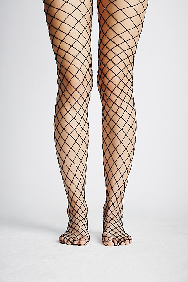 Slide View 3: Moonlight Lurex Fishnet Tights
